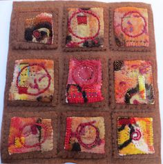 """Jane LaFazio - https://flic.kr/p/s4S7Xo   secret symbols   """"Secret Symbols"""" measures 12x12inches and is made from hand made felt, that I created from wool roving."""