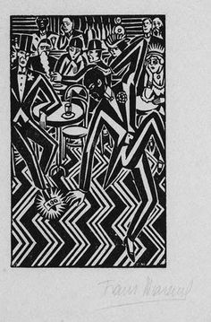 Artwork by Frans Masereel, 3 Works: Piano Player; Dancer & Spectators, Made of woodcut