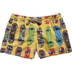 MC2 St Barth Yellow Skateboard Print Swim Shorts (97 AUD) ❤ liked on Polyvore featuring shorts