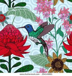 Vintage style tropical bird and flowers background, fashion seamless pattern with floral, exotic plant, creative and beautiful fabric, wrapping, summer and spring theme for design
