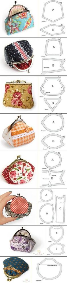 ✄ DIY - cute purses with lovely fabric, nice project for the girls :) Sewing Hacks, Sewing Tutorials, Sewing Patterns, Bag Tutorials, Bag Patterns, Tote Pattern, Tutorial Sewing, Coin Purse Pattern, Apron Patterns