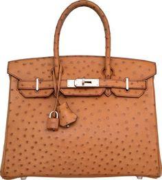 Hermes 30cm Cognac Ostrich Birkin Bag with Palladium…