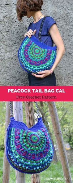 Peacock Tail Bag CAL will consist of 6 crochet parts and one more additional tutorial about how to sew fabric lining. This bag is made in overlay crochet Crochet Shell Stitch, Bead Crochet, Crochet Crafts, Crochet Projects, Free Crochet, Mandala Au Crochet, Peacock Crochet, Peacock Pattern, Purse Patterns