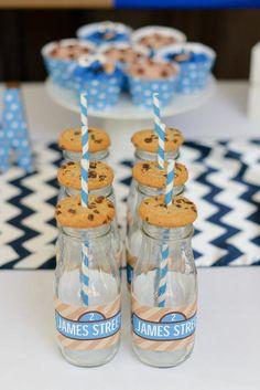 Boy's Sesame Street Cookie Monster Birthday Party Milk Bottle Wrapper Ideas