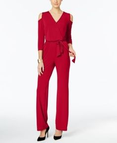 Ny Collection Petite Surplice Cold-Shoulder Jumpsuit - Red P/XL