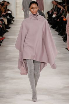 The perfect street look mauve cape with gray over the knee suede boots by Ralph Lauren.