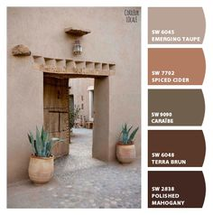 Paint colors from ColorSnap by Sherwin-Williams Exterior Paint Colors For House, Paint Colors For Home, Exterior Colors, Tuscan Paint Colors, Interior Paint Colors, Taupe Paint, Pintura Exterior, Tuscan Design, Southwest Decor