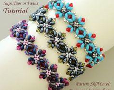 CAPRI twin superduo seed bead bracelet beading tutorial beadweaving pattern beaded jewelry beadweaving tutorial beading pattern instructions