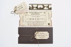 Vintage Movie Cinema Ticket Wedding Invitation by WeddingFactoryHR