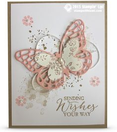 This is such a beautiful card from the Butterfly Basics bundle (stamp set and Butterflies thinlits die). Love the color combo of Crumb cake and Blushing Bride. the background splatter effect was created with the Gorgeous Grunge stamp set. Designed by Pam McLean.CARD: Sending Wishes Your Way Butterflies
