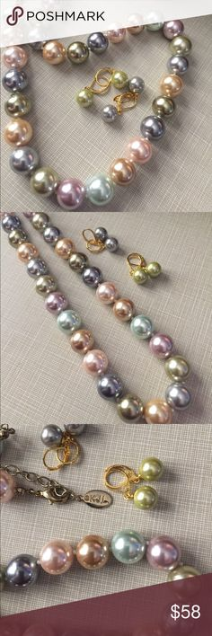 """KJLane faux pearl pastel w real NATURAL pearls ear KJLane faux pearl necklace pastel colors with his engraved initials and 2009 year in dedication of Mrs Obama inaugural earrings are real pearls 8 mm 2 pearls grey and sage 18"""" long plus 3"""" extender Nwot Jewelry Necklaces"""