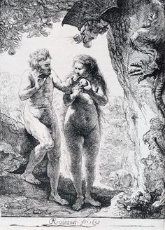 Rembrandt (1606-1669) The Fall of Man Etching 1638 Private collection by natalie-w