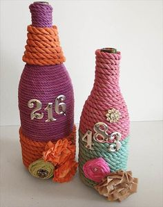 DIY Craft And Projects: Glass Bottles Decor With Rope And Flowers: