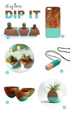 Teal-dipped handmade wood product on Etsy DIP IT / TheSweetEscape.ca