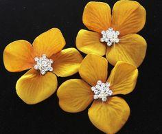 cute!  Set of 3 Mustard Yellow Velvet Flowers Hair pins / clips / Shoe clips. $26.00, via Etsy.