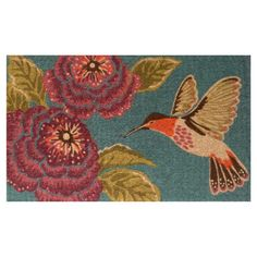 Placed on your front porch or patio, this eye-catching coir doormat welcomes guests in charming style with its lovely hummingbird and floral motif.
