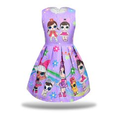 Little Girls Dress Sleeveless Print Pageant Pleated Dress for Doll Surprised - Purple - - Girls' Clothing, Dresses, Special Occasion # # Little Girl Dresses, Little Girls, Girls Dresses, Christmas Tutu Dress, Barbie Doll Set, Doll Party, Lol Dolls, Pageant, Valentino