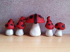 Ladybug Fairy Garden Clay Mushrooms by DownTheFairyPathUK on Etsy
