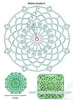 Patron de motivo circular A para tunica tejida al crochet