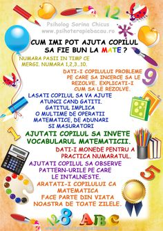 cum-ajut-copilul-la-matematica Classroom Themes, Kids Education, Kids And Parenting, Alphabet, Kindergarten, Homeschool, Letters, Teaching, Math