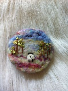 Needle Felted Landscape Brooch - Sheep Off On A Mission