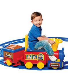 Another great find on #zulily! Talking Train & Track Ride-On #zulilyfinds