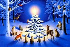 Download FOREST CHRISTMAS, ANIMALS HD (high definition) background wallpaper 12782, Download FOREST CHRISTMAS, ANIMALS background for mobile, iphone, desktop or another size
