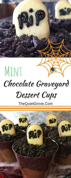 Mint Chocolate Graveyard Dessert Cups