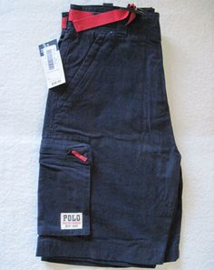 Ralph Lauren Polo Boys Cargo Shorts Navy Blue Belted Size 14 New   $15.00