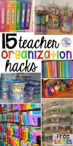 15 classroom organization hacks to make teaching easier that every preschool, pre-k, kindergarten, and elementary teacher should know. FREE theme box labels too!
