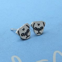 Plain Jane Pugs Sterling Silver Playful Pug Earrings ($27) ❤ liked on Polyvore featuring jewelry, earrings, sterling silver stud earring set, stud earring set, sterling silver earrings, sterling silver jewelry and stud earrings