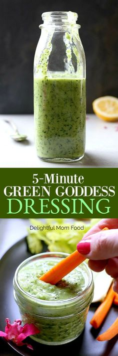 Nutrient-packed green goddess dressing reading in 5 minutes! A zesty green dressing made with avocado, lemon, onion, basil and parsley that is fantastic on everything! #paleo #keto #healthy #green #goddess #dressing #avocado #basil #sauce #dip #recipe | Delightfulmomfood.com