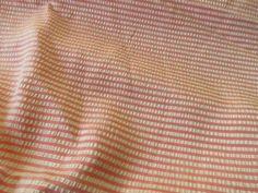 Vintage Satin Pink and White Seersucker Fabric by LeonasOldeLinens