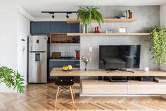 Nichos para cozinha: 60 ideias para organizar e decorar com estilo Apartment Interior, Apartment Design, Living Room Interior, Kitchen Interior, Kitchen Design, Kitchen Decor, Living Rooms, Home Decor Furniture, Kitchen Furniture