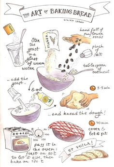 food illustrations art of baking bread recipe illustrated drawn handdrawn lilian leahy Bread Recipes, Baking Recipes, Fun Recipes, Drink Recipes, Recipe Book Design, Recipe Drawing, Sketch Note, Food Sketch, Food Drawing