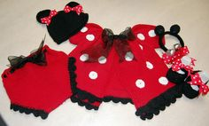 Minnie mouse ... by jtkdesigns@sympatico.ca | Knitting Pattern - Looking for your next project? You're going to love Minnie mouse inspired knit layette  by designer jtkdesigns@sympatico.ca. - via @Craftsy
