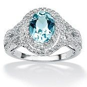 2.50-Carat Oval-Cut Genuine Blue Topaz and Diamond Accent Platinum Ring