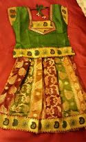 #Designer Gold, Green & Maroon Banaras #CottonPattuPavada for girls!!!! The fabric used is benars #cotton.