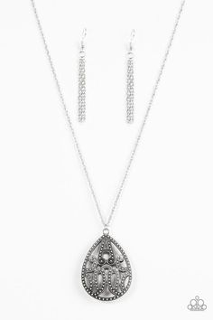 "Paparazzi ""TEARDROP-Dead Gorgeous"" Silver Filigree Teardrop 3D Pendant Necklace & Earring Set"
