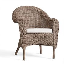 Torrey All-Weather Wicker Roll Arm Dining Chair - Natural #potterybarn