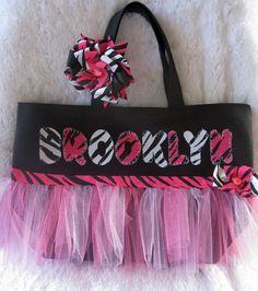 Girls Personalized Pink Zebra Tutu Tote by SpoiledRottenCotton.com