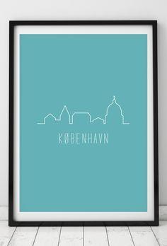 Byplakat - København i tyrkis - 50x70