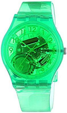 Swatch  Islands Galore Limade - Reloj de cuarzo unisex, con correa de plástico, color verde
