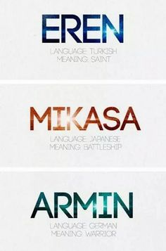 Attack on Titan. Mikasa is a battleship. Armin is not a warrior (at least, not physically). Eren is most definitely not a saint<mikasa is named after a battleship but her name actually means three bamboo hats Armin, Eren X Mikasa, Aot Eren, Death Note, Kevedd, Titans Anime, Accel World, Gekkan Shoujo Nozaki Kun, Kirara