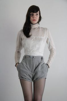 Antique Victorian Blouse . 1800s . High Lace Collar . Shirt . XS . Late Century by VeraVague on Etsy.