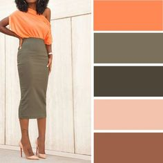 light Spring Analogous (Ash-green -> neutral) Orange and ash-green Colour Combinations Fashion, Color Combinations For Clothes, Fashion Colours, Colorful Fashion, Colour Pallete, Colour Schemes, Color Trends, Color Combos, Color Harmony