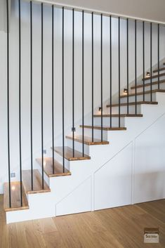 Home Remodel Plans Staircase Storage, Staircase Handrail, House Staircase, Wood Stairs, Spiral Staircases, Bannister, Painted Stairs, Stair Storage, Staircase Design Modern