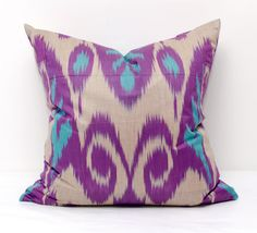 20x20 purple turquoise ikat pillow cover ikat pillows by SilkWay