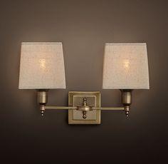Two 60 Watt Bulbs Claridge Double Sconce With Linen Shade