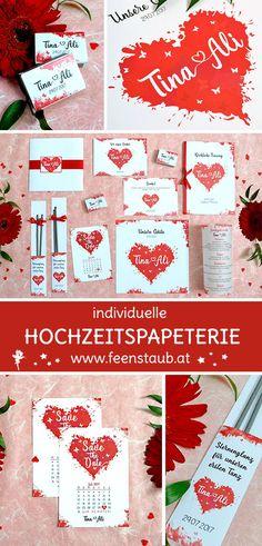 Wasserfaben und rote Herzen stehen bei diesem Hochzeits Papeterie Design im Vordergrund. Passend dazu wurden Save the Date Postkarten, Pocketeinladungen, Kicrhcenhefte, Dankeskarten, Zündholzschachteln, Sprühkerzen und ein Gästebuch gestaltet.Wir entwerfen mit euch aus euren Ideen und auch ausfallenen Wünschen eure Einladungskarten und euer Design. #feenstaub #hochzeitspapeterie #herz #rot #Design #love Save The Date Karten, Water Bottle, Drinks, Design, Invitation Cards, Postcards, Red Hearts, Thanks Card, Card Wedding
